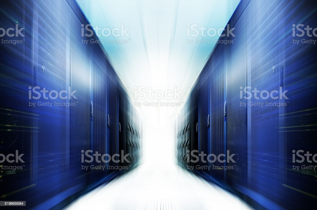 server room with equipment in data center blur and motion stock photo