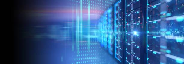 серверное помещение с серверной стойкой в баннере центра обработки данных. 3d иллюстрация - технологии стоковые фото и изображения
