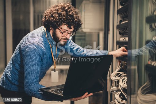 Server Rooms-IT engineer at workplace