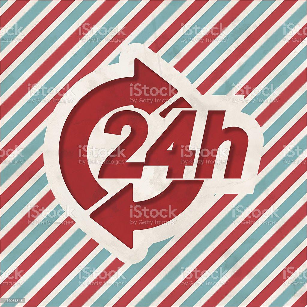 Service 24h Concept on Retro Striped Background. stock photo
