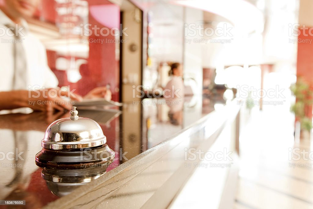 Service bell at an hotel reception stock photo