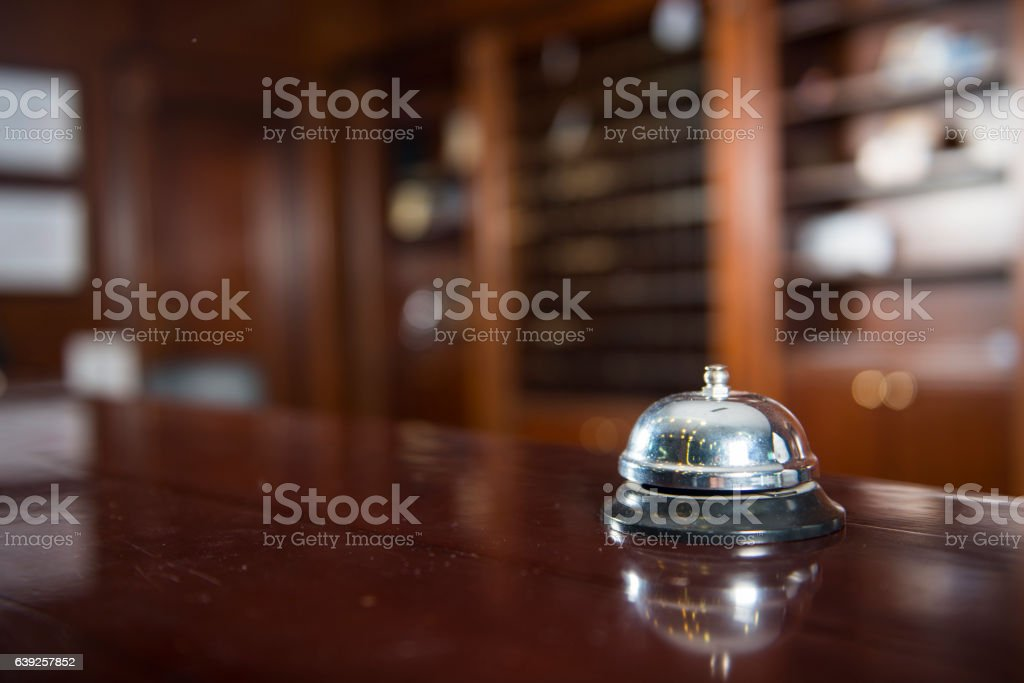 Service bell in a hotel. stock photo