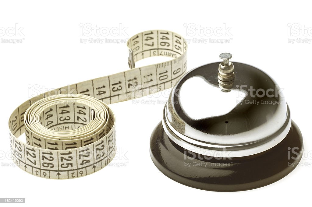 Service Bell with a Tailor Meter. royalty-free stock photo