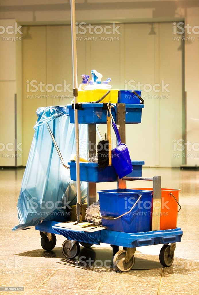 Service cart with cleaning accessories - cleaning kit stock photo