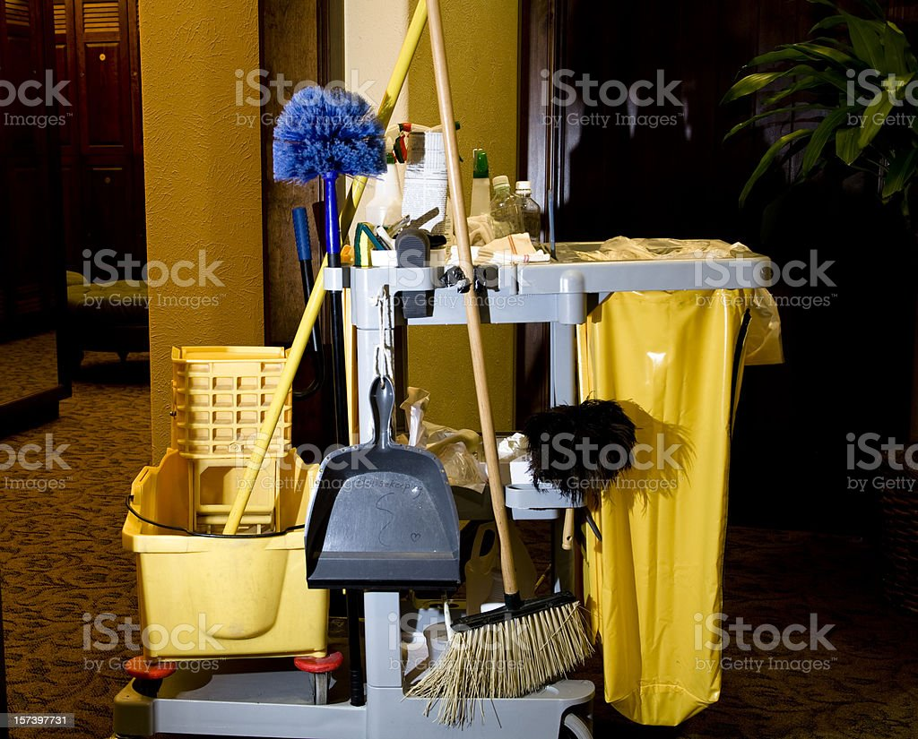 Service: Cleaning cart, supplies in business office or hotel. Housekeeping. stock photo