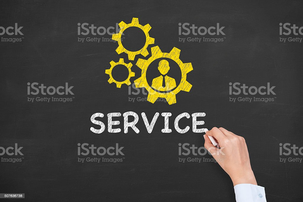 Service Concept on Chalkboard stock photo