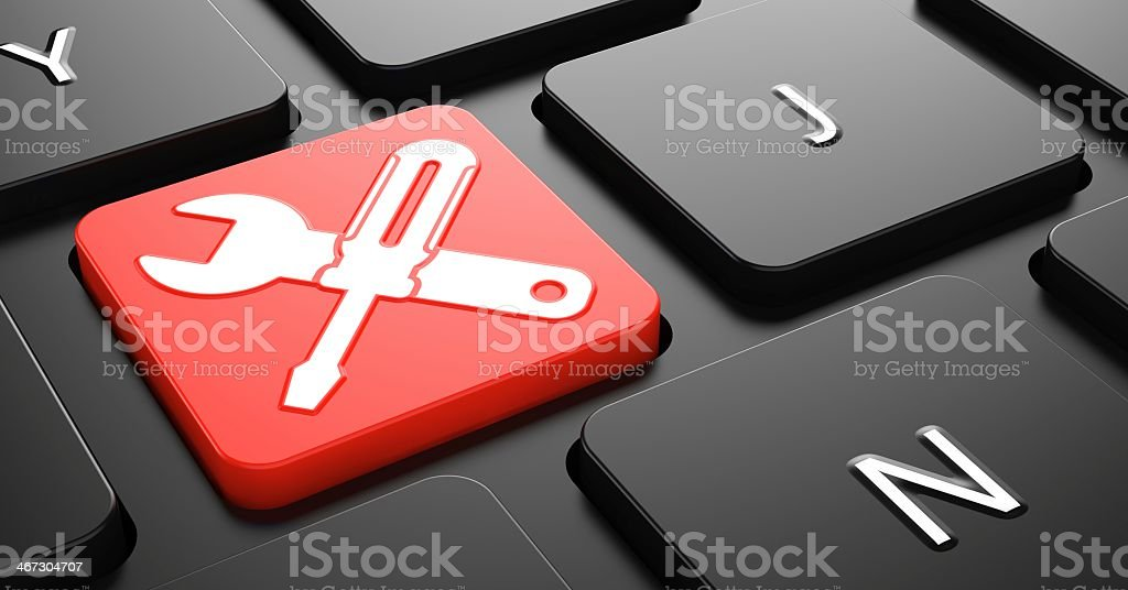 Service Concept on Red Keyboard Button. stock photo