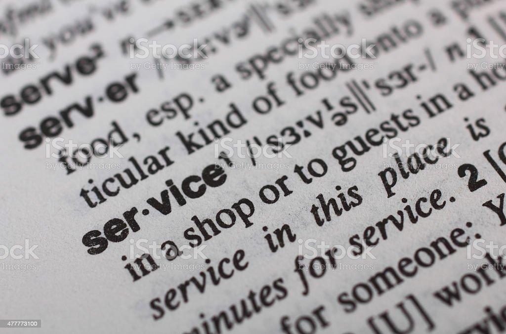 Service definition stock photo