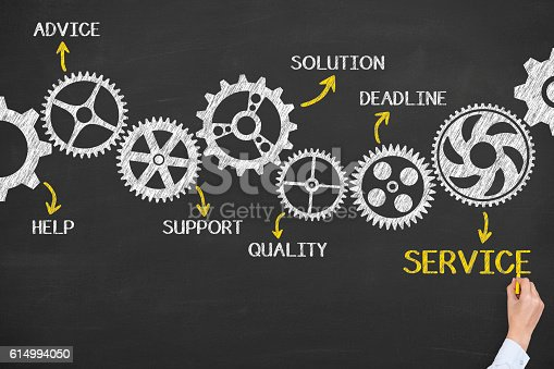 istock Service Gears Concept on Blackboard Background 614994050