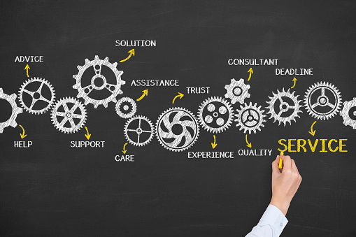 istock Service Gears Concept on Chalkboard Background 607494516