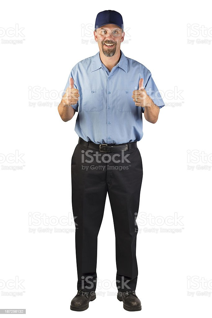 Service Man Approving with Thumbs Up stock photo