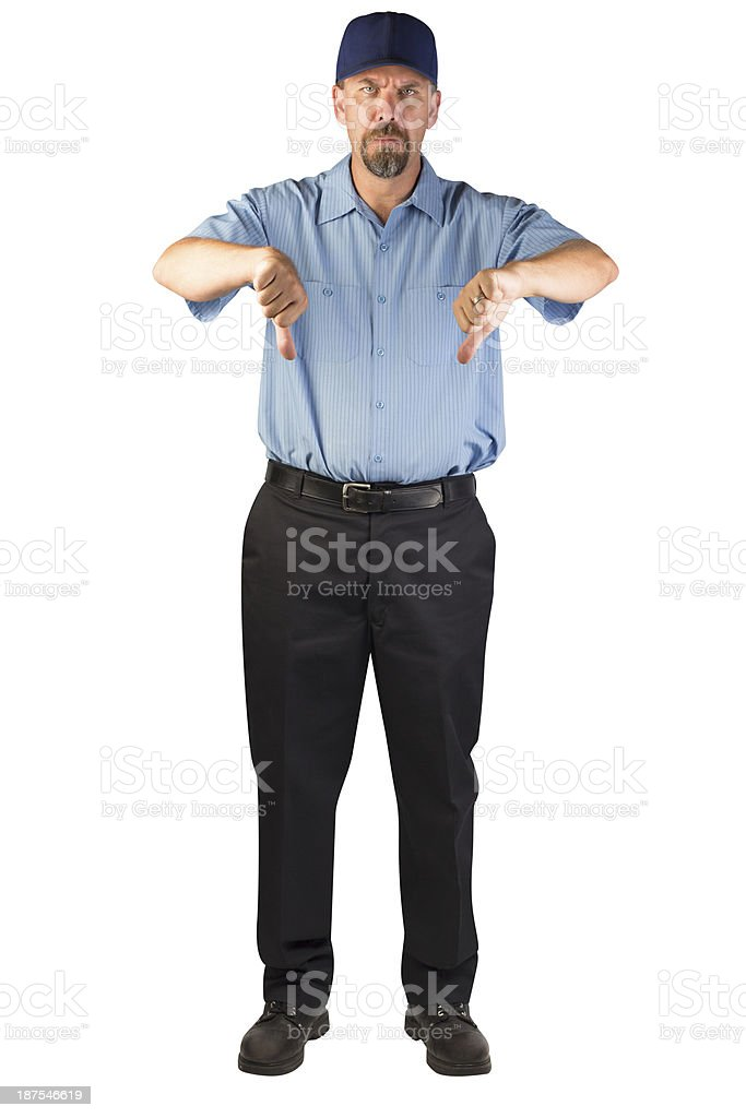 Service Man Disapproving with Thumbs Down stock photo