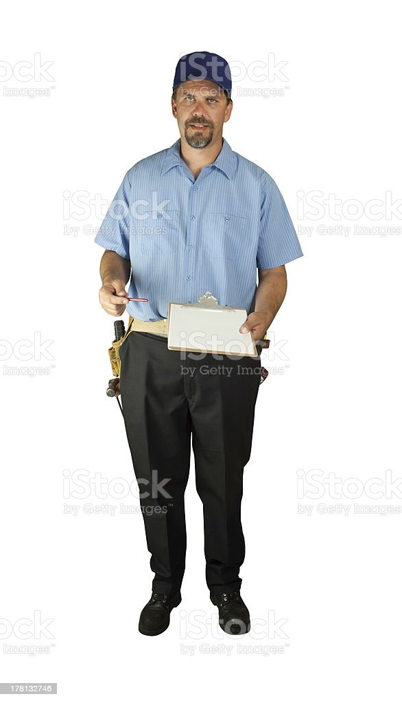 Service man standing with clipboard stock photo