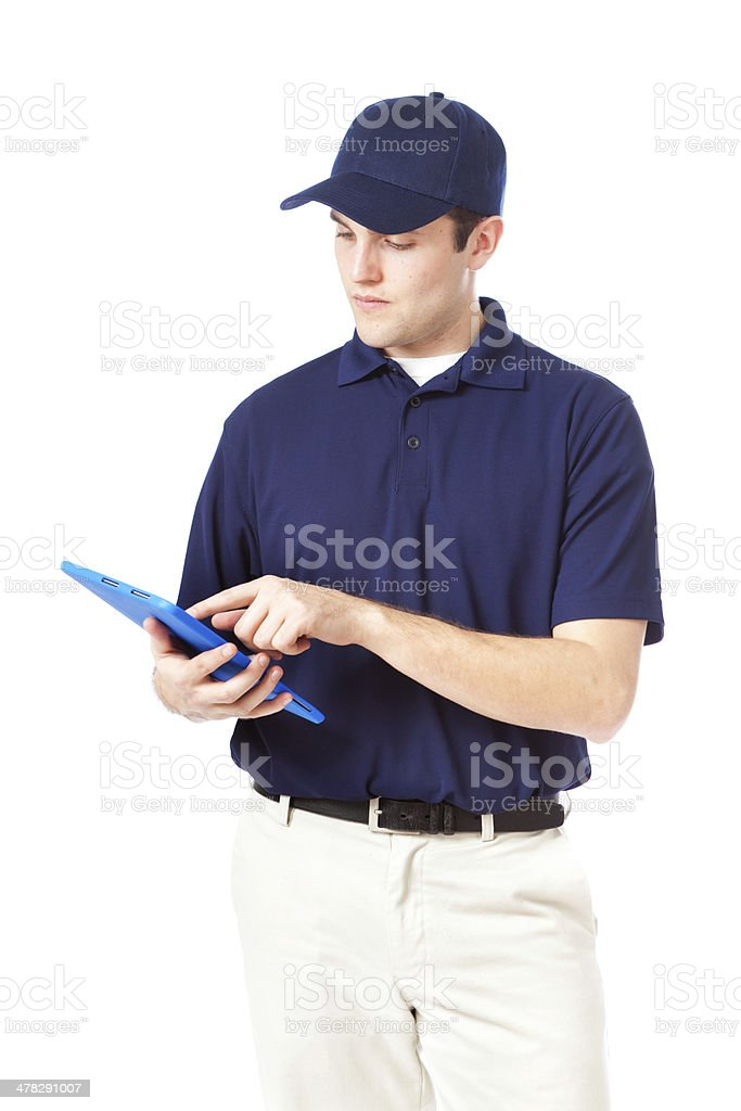 Service Man with Digital Tablet on White royalty-free stock photo