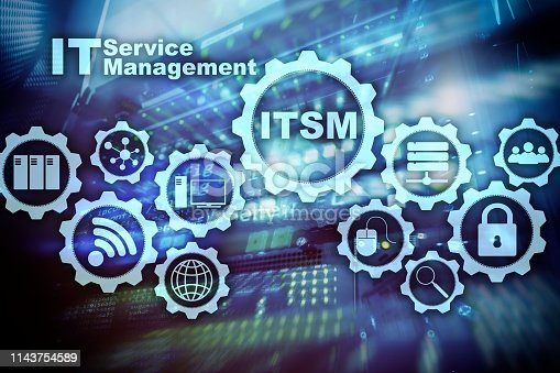 ITSM. IT Service Management. Concept for information technology service management on supercomputer background.