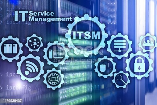 ITSM. IT Service Management. Concept for information technology service management on supercomputer background