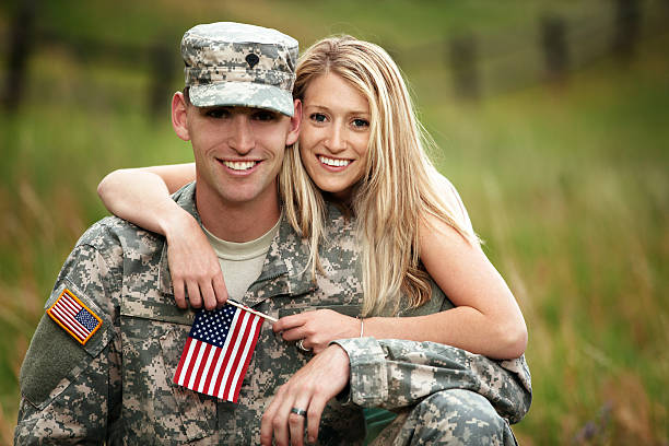 US Service Member With Young Wife stock photo