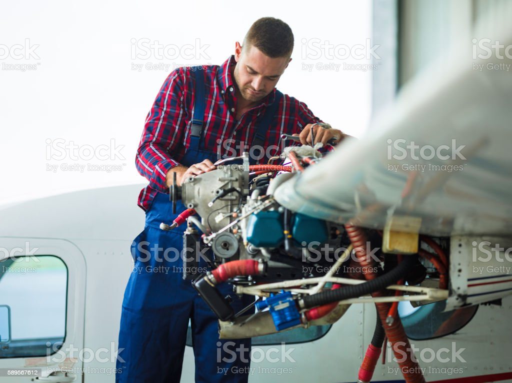Service of air vehicle stock photo