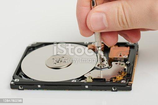 Service of repairing hard drive. Recovery digital data theme