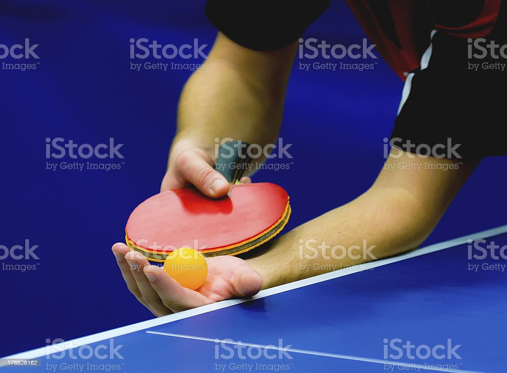 service on table tennis stock photo