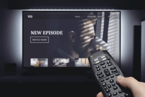 VOD service on television. TV streaming concept stock photo