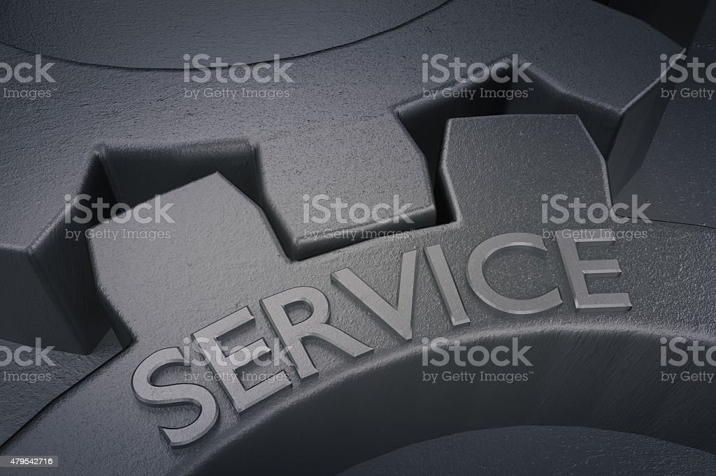 Service on the Metal Gears on Grey Background. stock photo