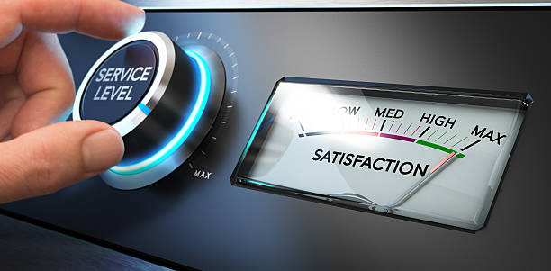 Service Satisfaction Indicator Hand turning a service level knob up to the maximum with a dial where it is written the word satisfaction. Concept image for illustration of Key Performance Indicator, KPI or customer loyalty. meter instrument of measurement stock pictures, royalty-free photos & images