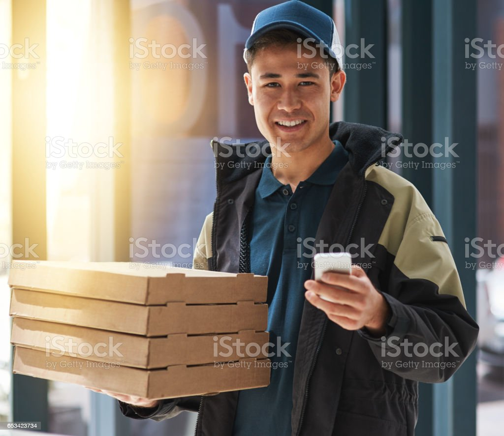Service so fast, it's still piping hot stock photo