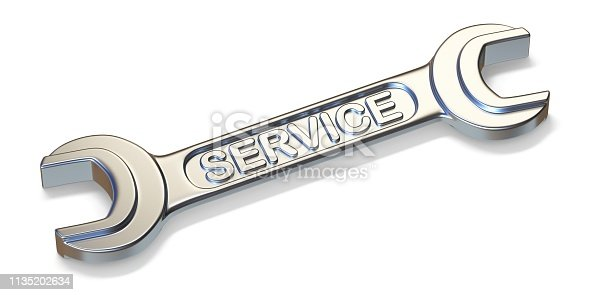 Service wrench tool 3D render illustration isolated on white background