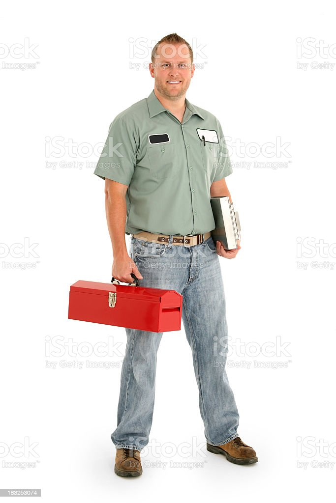 Serviceman with a red toolbox and in uniform royalty-free stock photo