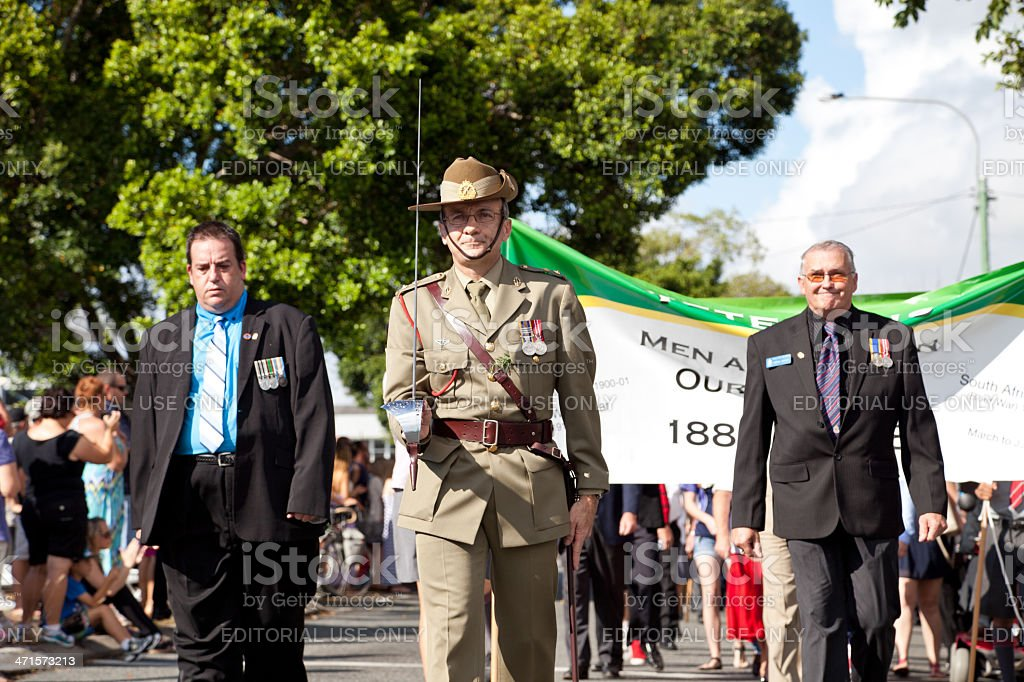 Servicemen marching on Anzac Day stock photo