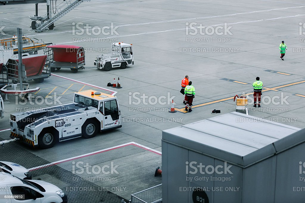 Servicing area by terminal in London Stansted Airport stock photo