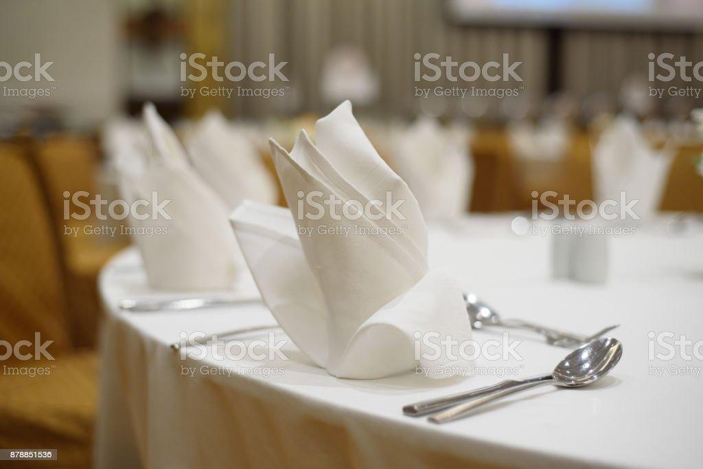 serviette on dinner stock photo
