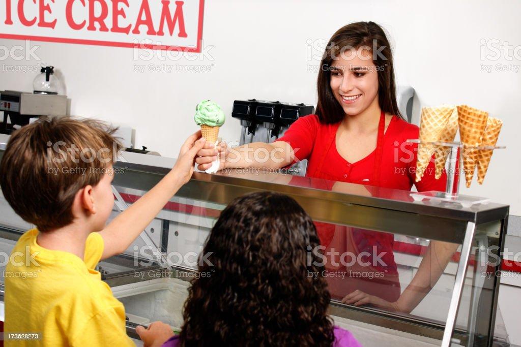 Serving an Ice Cream Cone stock photo