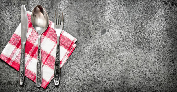 serving background. cutlery on a napkin. - sport set competition round stock photos and pictures