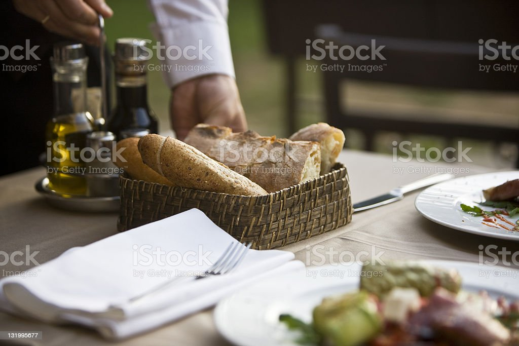 Serving bread royalty-free stock photo