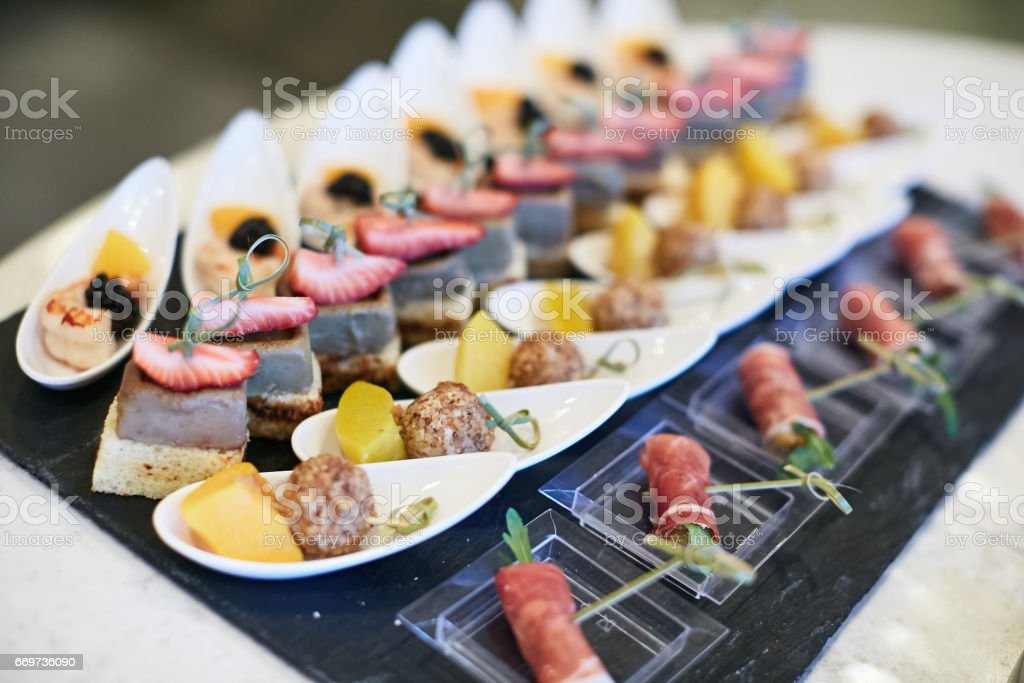 Serving buffet table stock photo