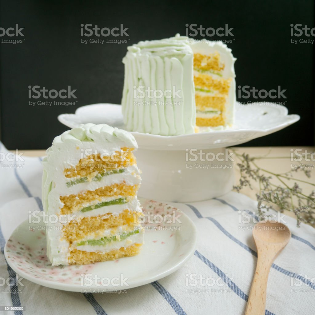 Serving cake stock photo