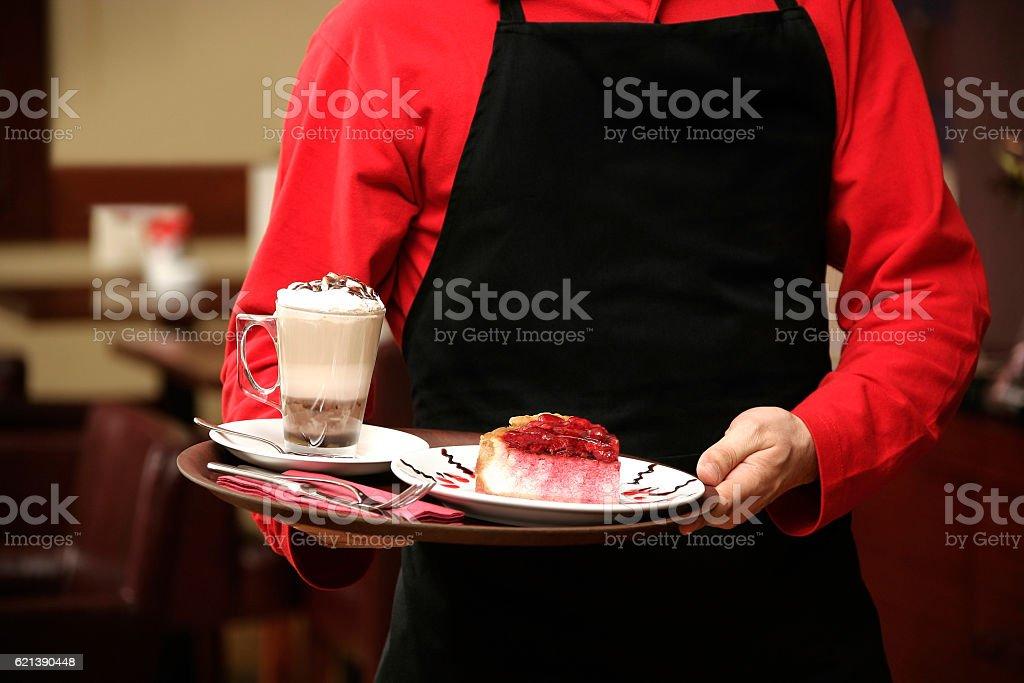 serving cheesecake stock photo