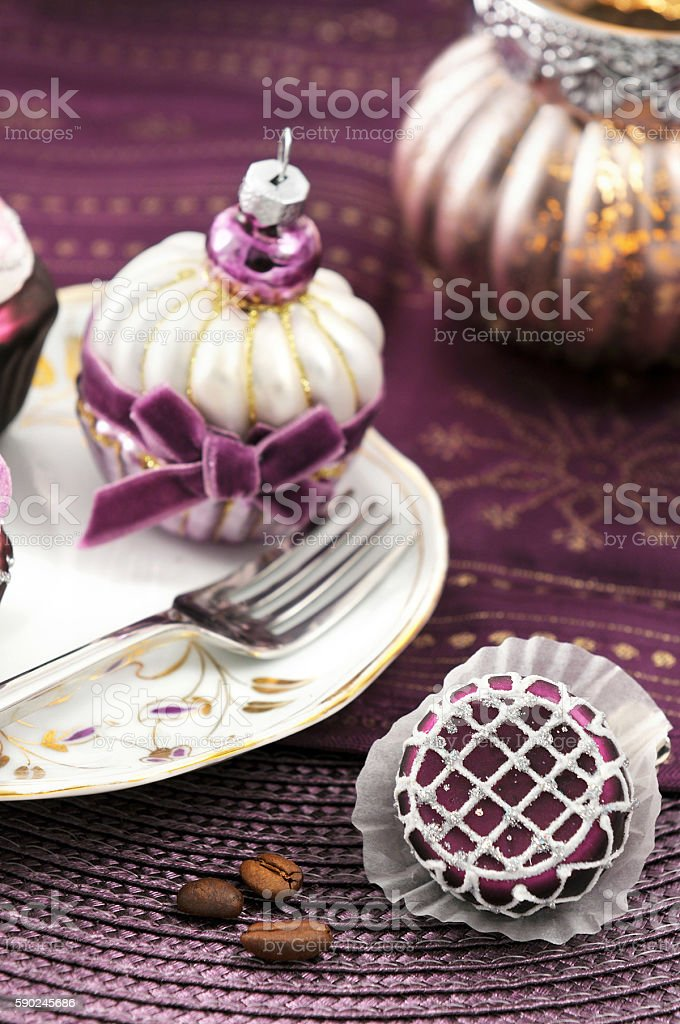 serving christmas ball muffins. stock photo