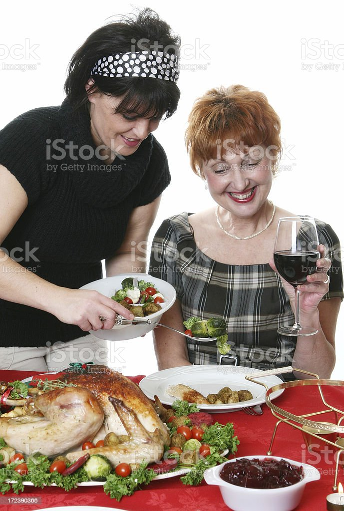Serving Christmas meal royalty-free stock photo