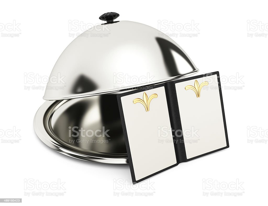 Serving cloche and blank menu book stock photo