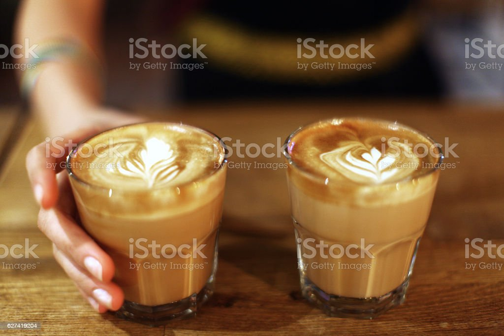 serving coffee stock photo