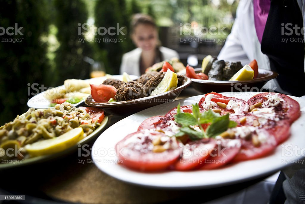 Serving Dinner royalty-free stock photo
