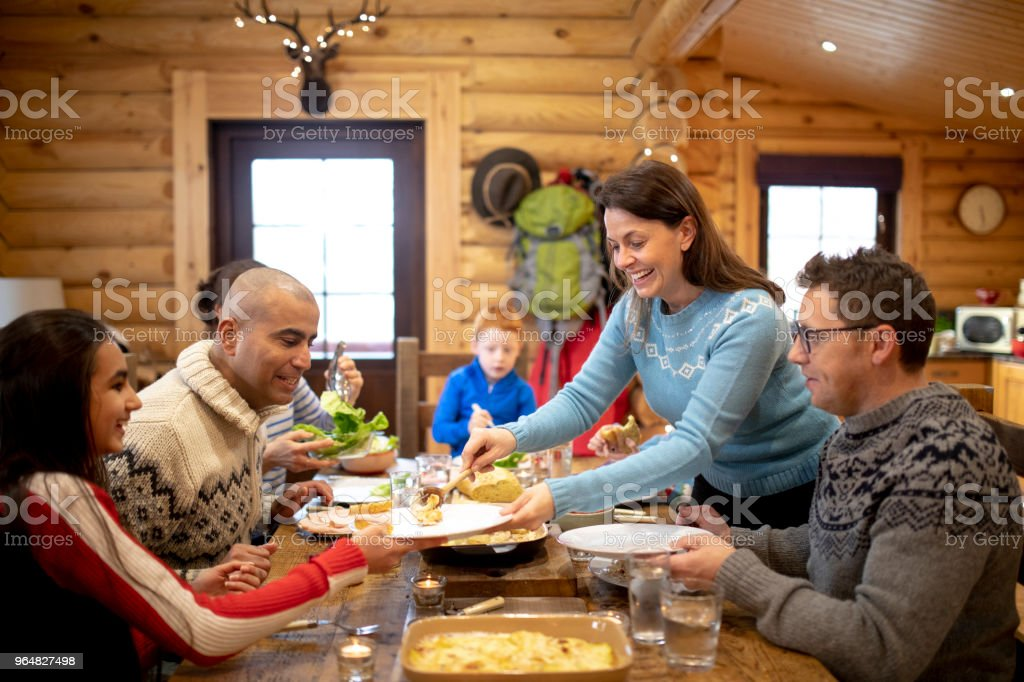 Serving Dinner to her Family royalty-free stock photo