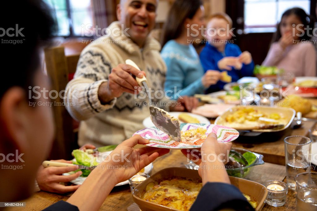 Serving Dinner to his Son royalty-free stock photo