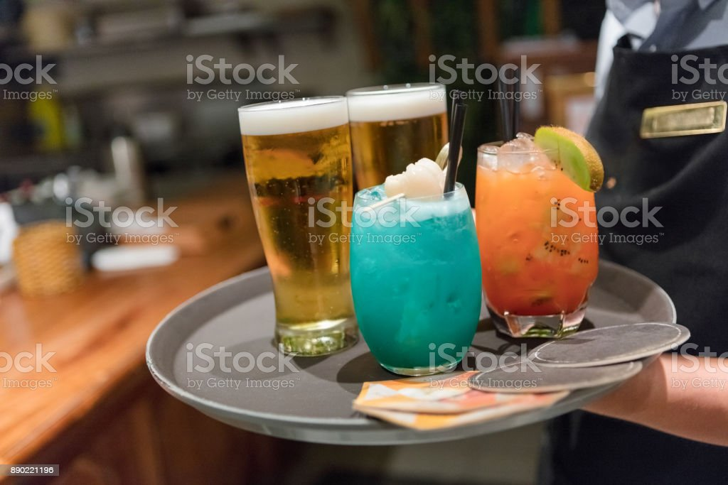 Serving drinks stock photo