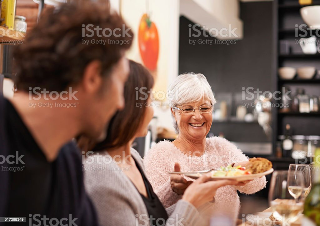 Serving food filled with love stock photo