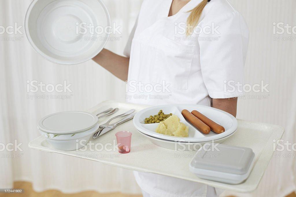 Serving hospital food stock photo