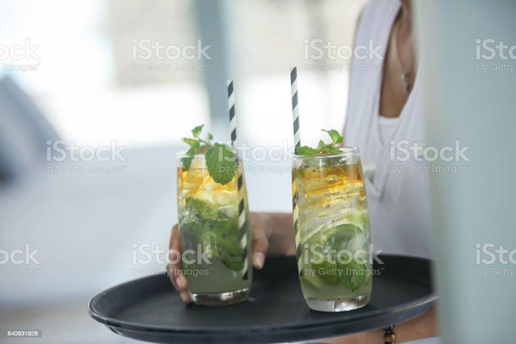 Serving mojito stock photo